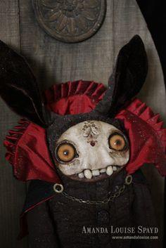 Vampire bunny by Amanda Louise Spayd Diy Halloween Gifts, Diy Halloween Home Decor, Halloween Decorations For Kids, Diy Holiday Gifts, Halloween Doll, Halloween Vampire, Creepy Halloween, Paperclay, Creepy Dolls