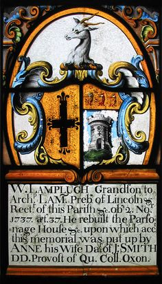 Heraldic memorial glass in St. Mary's Church at Alton Barnes, Wiltshire, England.