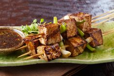 Easy to make grilled skewers marinated in a traditional Japanese sauce mixture of mirin, sake, and tamari. A classic Japanese drinking food! The Effective Pictures We Offer You About marinated tofu re Paneer Recipes, Tofu Recipes, Indian Food Recipes, Asian Recipes, Vegetarian Recipes, Healthy Recipes, Vegetable Recipes, Grilled Tofu, Marinated Tofu