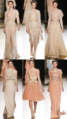 Elie Saab Fall 2012 Couture - middle in the bottom row is very romantic.  Love the beading on the bottom right one, too.