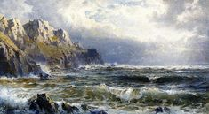 Moye Point, Guernesey, Iles Anglo-Normandes, huile sur panneau de William Trost Richards (1833-1905, United States)