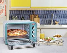 """Bake, broil, toast and reheat food Can fit a 12"""" pizza or 6 slices of bread with an inner capacity size of 13"""" X 13"""" X 9.5"""" Adjustable timer, temp function knobs Accessories included: bake tray, wire rack and crumb tray 4pcs stainless steel heating elements"""