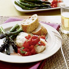 Cod and Asparagus with Tomato Vinaigrette