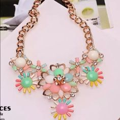 Pastel Gemstone Statement Necklace Beautiful and new! Jewelry Necklaces