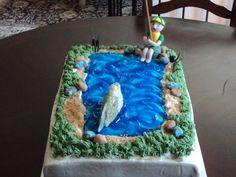 Fishing themed Groom Cake   Grooms cake, fishing theme. Italian creme cake, cream cheese icing ...