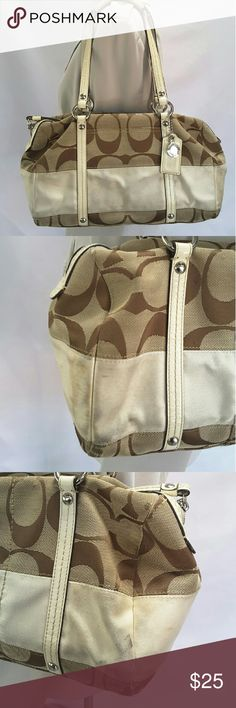 "Coach shoulder bag F13551 Coach F13551 shoulder bag.   Brown C signature canvas, beige leather trim, shoulder straps, hang tag and pull tab.   Features include front slip pocket, in wall zipper pocket and two multifunction slip pockets, top zipper closure.   Length 12"" height 9"" width 5"" Strap drop 9""   This purse is dirty and little worn see pics.   Pets and smoking free home. Coach Bags Shoulder Bags"