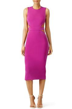 This pink midi body con dress has a cutout back. Perfect for a summer bachelorette party!  Cushnie Et Ochs Orchid Cutout Sheath Dress