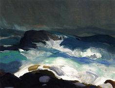 'Sea in Fog', 1913 - George Wesley Bellows Paula Modersohn Becker, American Realism, American Artists, Seascape Paintings, Landscape Paintings, Abstract Landscape, Abstract Art, Ashcan School, The Draw