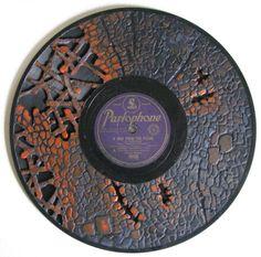 Dremel + Vinyl record album, upcycle, wall art, sculpture, siiicckkkkk LP by scott Marr: Records