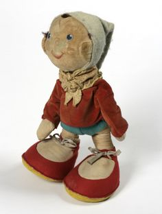 Noddy doll based on the character first introduced in 1949 by British children's author Enid Blyton (known internationally for her Famous Five novels), United Kingdom, 1960-68, by Merrythought Ltd.  From the Victoria and Albert Museum of Childhood's permanent collection.