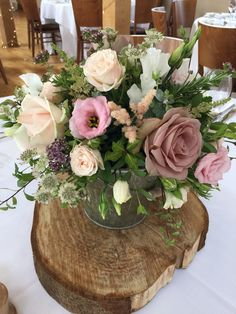 Blush wedding posy centrepiece for wedding at Bassmead Manor Barns. Centerpieces, Table Decorations, Wild Orchid, Orchids, Flowers, Pink, Wedding, Furniture, Barns