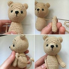 Oso de ganchillo amigurumi tutorial Make your own teddy bear with this free amigurumi tutorial. To make this bear you need YarnArt Jeans yarn and mm crochet hook. The height of finished toy is 12 cm. Crochet Teddy Bear Pattern, Crochet Animal Patterns, Stuffed Animal Patterns, Crochet Patterns Amigurumi, Crochet Dolls, Crochet Cats, Crochet Birds, Knitted Dolls, Crochet Animals
