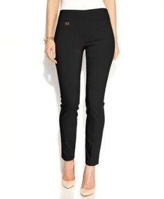 Alfani Tummy-Control Skinny Pants, Only at Macy's-Bright White,Deep Black,Havana Blue,Navy,New Red Amore,Olive,Stadium Gray,Silver Stream,Straw,Urban Teal-$39.98