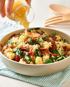 Bacon and Orzo Pasta Salad. Need recipes and ideas for fast and easy sides and side dishes you can m Spinach Orzo Salad, Orzo Salad Recipes, Salad Recipes For Dinner, Potluck Recipes, Pasta Salad, Cooking Recipes, Healthy Recipes, Noodle Salad, Bacon Salad