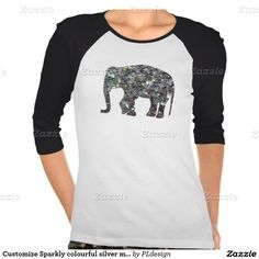 Sparkly colourful silver mosaic Elephant Ladies 3/4 Sleeve Raglan Tshirt by #PLdesign #SilverMosaic #ElephantGift **you can choose between many different styles (toddlers, kids, ladies and men)**