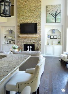 Two Story Great Room with Built Ins and Stone Fireplace