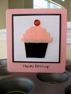 Pink Cupcake birthday card felt and gemstones by withlovebyvarda, $4.99