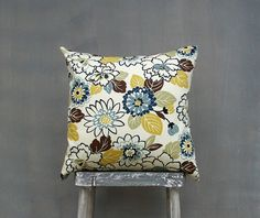 Brown Green Gold and Blue Floral Pillow Cover, Decorative Throw Pillow Covers, Pillow Case, Toss Pillow, Accent Pillow, 18x18 Pillow on Etsy, $15.00