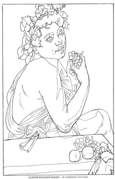 le jeune bacchus malade_le caravage famous paintings coloring pages