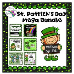 This bundle contains 6 products designed and bundled especially for Autism and Special Ed. classrooms. Each product works well one-on-one or in small groups. You could also use them to set up centers, Students can work on different target skills as you incorporate a St.
