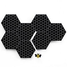 Time2bee Wall Clock - black handmade honey bee wall clock