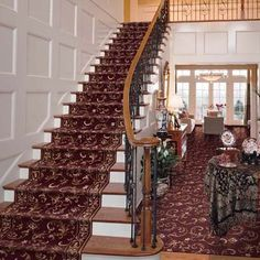 Patterned Carpet On Stairs | The patterned carpet gives these stairs an elegant look. | Carpet
