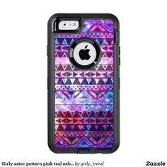 Girly Aztec Pattern Pink Teal Nebula Space Otterbox Defender iphone Case #girly #aztec #pattern #pink #teal #nebula #space #otterbox #defender #iphone #case