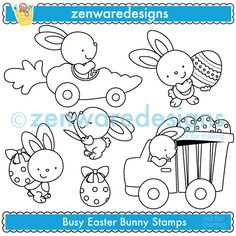 The Easter Bunny is hard at work preparing the eggs for a very special delivery! This stamp set would be great for an Easter party! Perfect for the party invitations, tote bags, note pads and monogramming! The simple lines suit embroidery as well!    Formats:  300dpi JPEG files, and 300dpi transparent PNG files