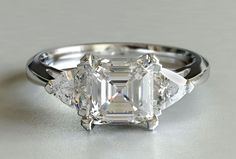 Asscher and Trillion Three-stone Engagement Ring New Zealand
