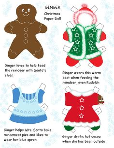 Print some super cute gingerbread paper dolls. Free to print. Great for some Christmas fun.