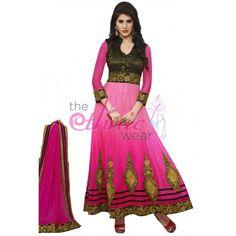 Fantastic Pink Net Designer #Anarkali Kameez #Salwarkameez #Dress #Clothing #Fashion