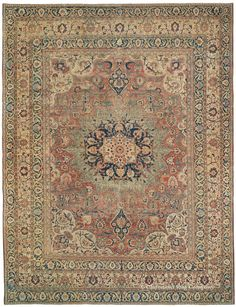 Hadji Jallili Tabriz, 10ft 4in x 13ft 6in, 2nd Quarter, 19th Century. This precious Hadji Jallili Tabriz rug is among the most important of our new acquisitions, a supremely beautiful 175-year-old room size antique carpet attributed to the master designer, Hadji Jallili, from the northwest Persian city of Tabriz. This tremendously sophisticated work excels in the evocative, almost impressionistic nature of its floral design, and its brilliant sense of rhythm and movement.