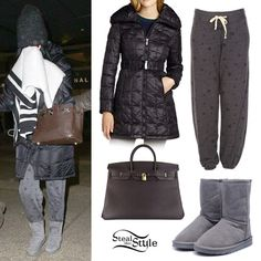 Katy Perry hid her face from photographers as she walked through LAX wearing a jacket similar to the Laundry by Shelli Segal Black Quilted Hooded Belted Down Jacket, a pair of Sundry Classic Star Print Sweatpants, her UGG Classic Short Grey Boots, and a Hermés Birkin Bag in brown✨ #KatyPerry #Style #Inspiration