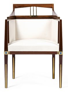 Gustave Serrurier-Bovy upholstered wood chair with brass and Loetz glass details