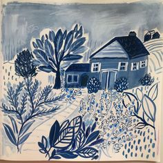 """Jennifer Orkin Lewis's Instagram profile post: """"Playing here with gouache, pencil, watercolor crayon and ink. In all blues to keep it simple. #gouachepaint #indigo #sketchbookpainting"""""""