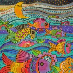 click here to view larger image of Fanciful Fish (hand painted canvases)