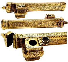 19th Century Persian Scribe's Pen And Inkwell Case. IN AWE - SO ORNATE W' SO MUCH DETAILING - MUST TAKE AGES TO CREATE - AMAZING <3<3<3 @