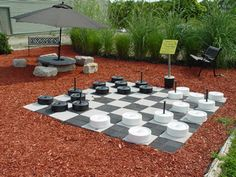 love the checkerboard,and also like the grass perimeter in back....