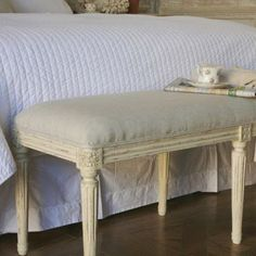 {Old World Glamour} Eloquence Boudoir Bench Upholstered Old Cream from @laylagrayce #bench #eloquence #laylagrayce