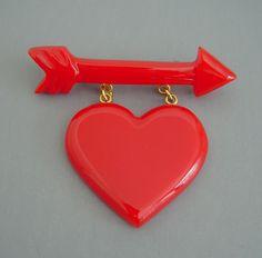 retro vintage heart jewelry bakelite - Google Search