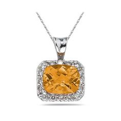 4.70 Carat Citrine and Diamond Pendant in 14K White Gold - SPP7952CT