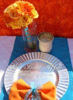 Wedding flowers and custom linens by My Flower Affair. www.myfloweraffai... wedding flowers, wedding decor, wedding flower centerpiece, wedding flower arrangement, bouquet  orange teal aqua