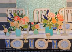 A dinner scene by artist Lulie Wallace of Charleston, SC
