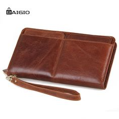 65.00$  Watch now - http://aliiee.shopchina.info/go.php?t=32583638425 - Baigio Leather Wallet Men Purse Vintage Style Designer Long Slim Billfold Card Holders Men Large Capacity Hand Clutches Wallet  #magazineonlinebeautiful