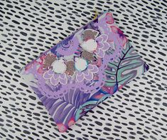 Pastel coloured, tropical floral print CLUTCH PURSE made from vintage fabric, decorated with an unusual, textural embellishment. Floral Print Fabric, Floral Prints, Clutch Purse, Linen Fabric, Embellishments, My Design, Applique, Purses, Pattern