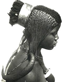 Africa | For centuries the Ngandjera and Kwaluudhi have occupied the western regions of the area formerly known as Ovamboland. In the past the coiffures worn by their girls and women were of such stunning beauty that they were known far beyond their tribal areas. ca. 1940s | Photo: A. Schertz, Collection Antje Otto