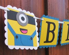 Minion HAPPY BIRTHDAY Banner - Despicable Me Sign
