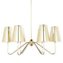 Berkshire 6-Arm Chandelier - Aged Brass with Metal Shades