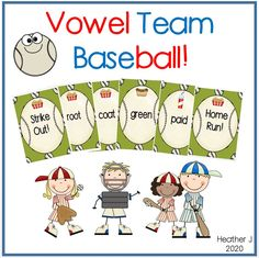 Vowel Team Baseball! Get rid of your cards first by matching either words with the same vowel team or the same food picture! Includes special cards that function as Skip, Reverse, Wild, and Extra Turn.  Vowel Teams include ee, oo, ai, oa.  Great for literacy centers or direct instruction!  First and second grade.