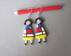 Bijou Mondrian boucles d'oreilles Mondrian 2 poupées en